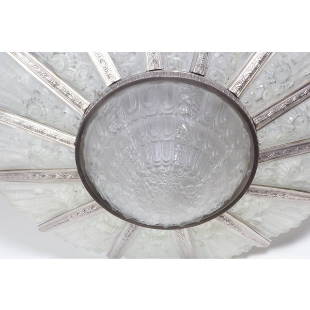 White Palatial French Art Deco Fourteen Panel Chandelier by Genet et Michon For Sale - Image 8 of 11