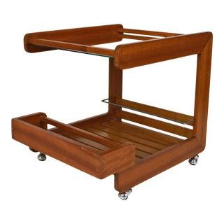 1970s Scandinavian Modern Teak Serving Bar Cart For Sale