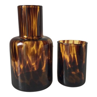 Murano Tortoise Shell Glass Decanter & Tumbler For Sale