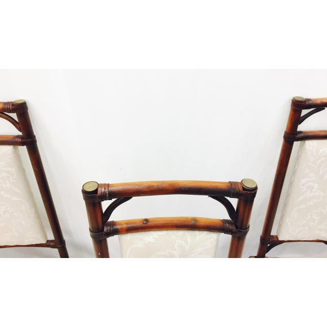 Vintage Bamboo & Rattan Dining Chairs - Set of 4 - Image 6 of 11