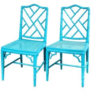 Pair of Powder Blue Armless Chinese Chippendale Chairs For Sale