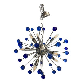 Murano Glass Chandelier in Sputnik Style With a Kromo Frame For Sale