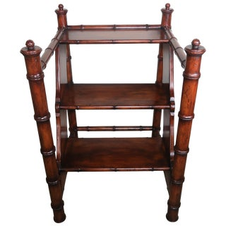 English Bamboo Motif Library Step Ladder For Sale