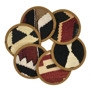 Kilim Coasters Set of 6 - Doğrama For Sale