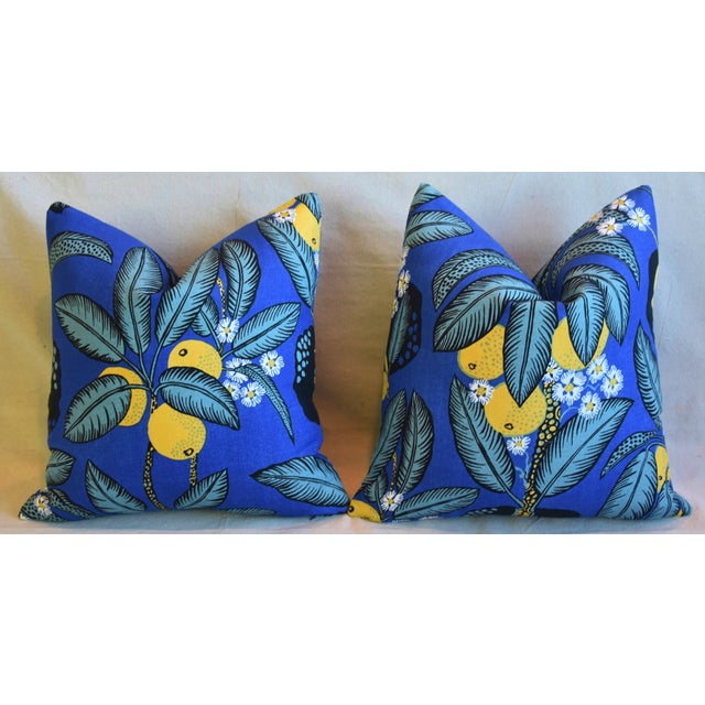 """Designer Josef Frank """"Notturno"""" Floral Linen Feather/Down Pillows 18"""" Square - Pair For Sale In Los Angeles - Image 6 of 11"""