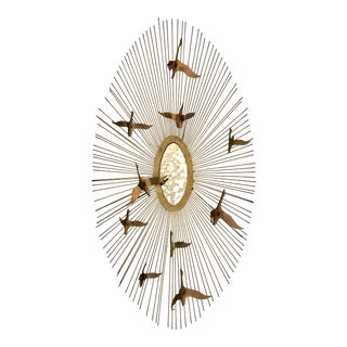 "1960s Brutalist Brass ""Birds in Flight"" Sunburst Wall Art Sculpture Mirror For Sale"