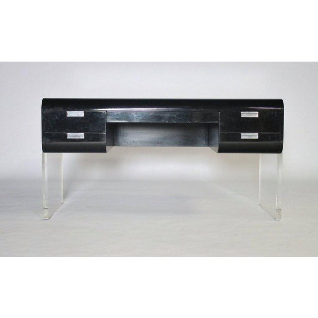 Mid-Century Modern Pace Floating Desk on Lucite Frame For Sale - Image 3 of 10
