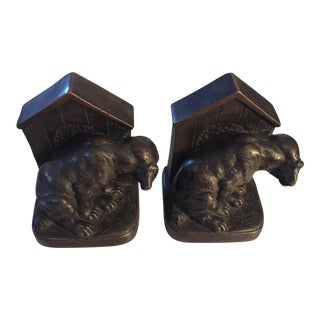Dog and Doghouse' Antique Bookends - a Pair For Sale