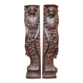 PAIR OF LARGE 17TH CENTURY CARYATID WALL APPLIQUES For Sale