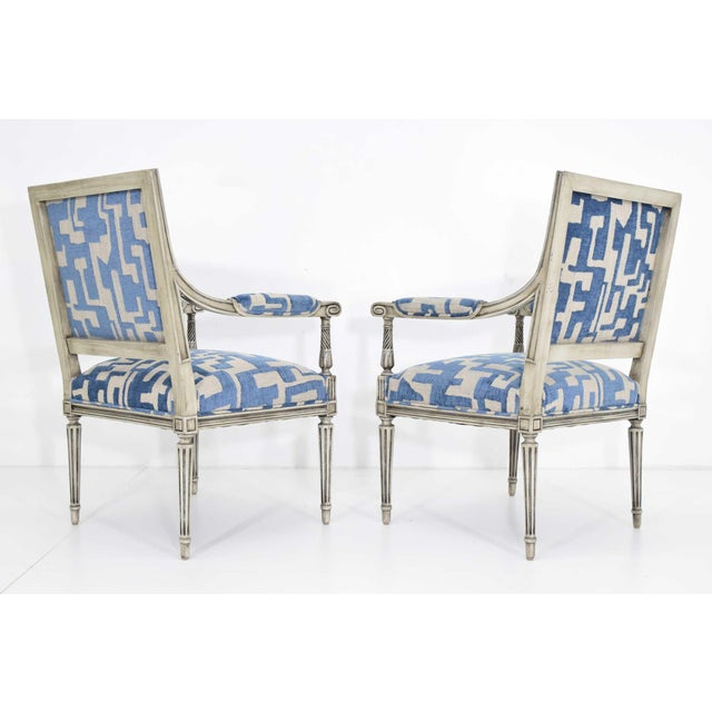 French Louis XVI Style Lounge Chairs in Blue/Taupe - a Pair For Sale - Image 3 of 11