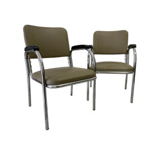 Mid-Century Modern Royal Metal Manufacturing Tubular Chrome and Ochre Khaki Chairs - a Pair For Sale