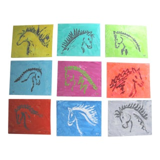 Horse Head Profile Paintings by Cleo Plowden - Set of 9 For Sale