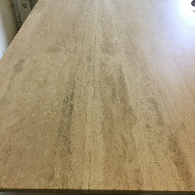 White Travertine Marble Dining Table or Desk For Sale - Image 8 of 13