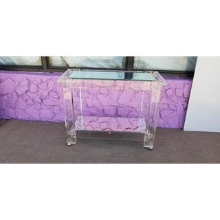 1970s Vintage Lucite Mirrored and Glass Bar Cart Preview