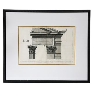 Framed Engraving of Corinthian Column and Architrave by Francisco Piranesi For Sale