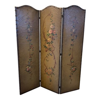 Antique Early 20th Century Hand Painted Leather Screen For Sale