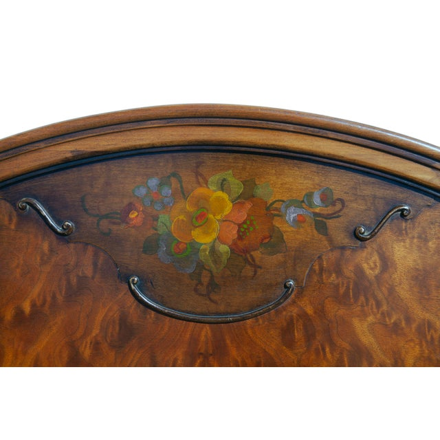 1940s Renaissance Hand Painted Walnut Headboard For Sale In Los Angeles - Image 6 of 8