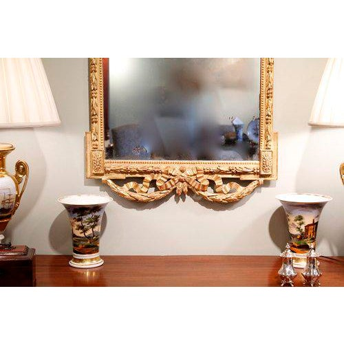 Gold Large Italian Neoclassical Gilt Wood Mirror For Sale - Image 8 of 11