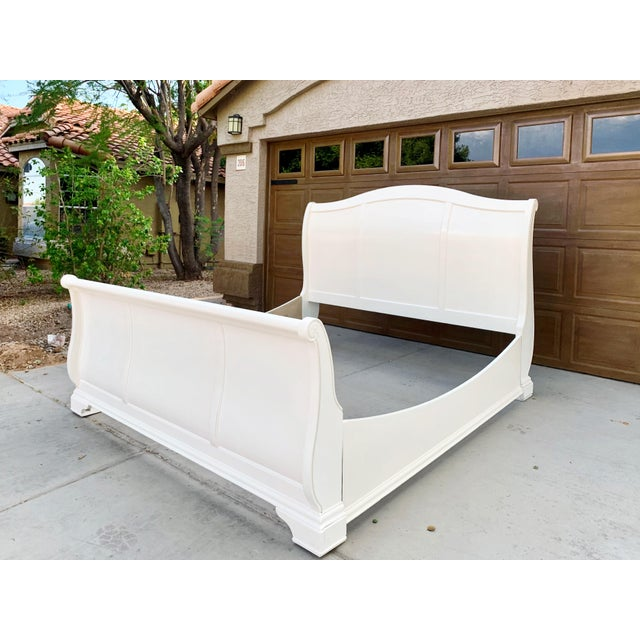 Linen Solid Cherry King Size Sleigh Bed in Linen White For Sale - Image 8 of 8
