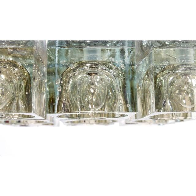 Contemporary Lightolier Glass Blocks 9-Light Flush Mount For Sale - Image 3 of 13