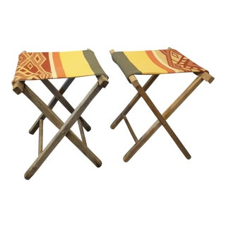 1950s Boho Chic Fun Statement Wood Camp Stools - a Pair
