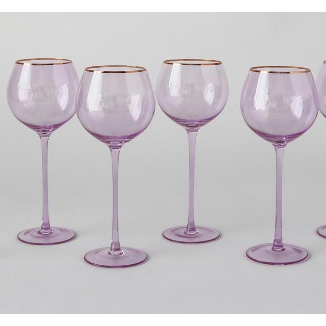 Siren Beverageware Misty Lilac + Gold White Wine - Set of 4 For Sale - Image 4 of 4