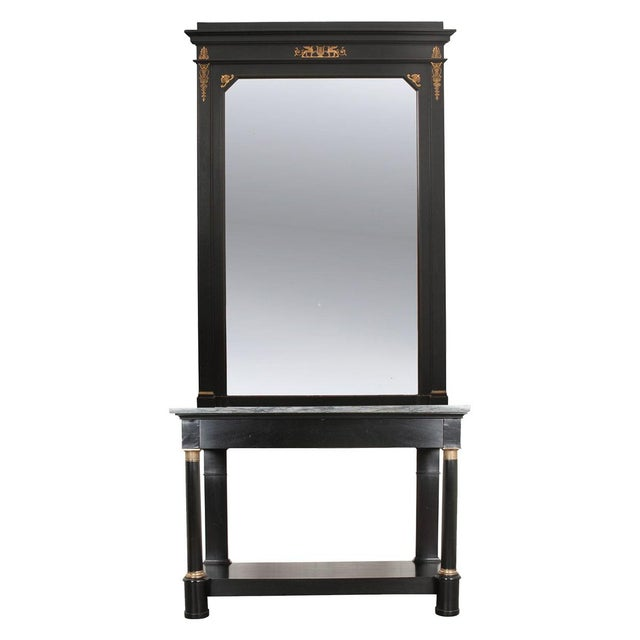 French 19th Century Second Empire Ebonized Console and Mirror For Sale - Image 13 of 13