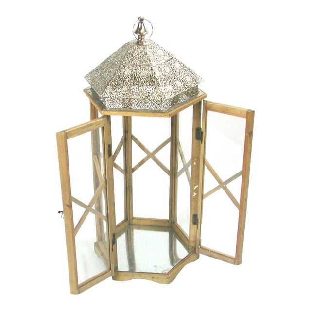 Tall Rustic Bohemian Candle Lantern with Lace Metal Roof - Image 1 of 4