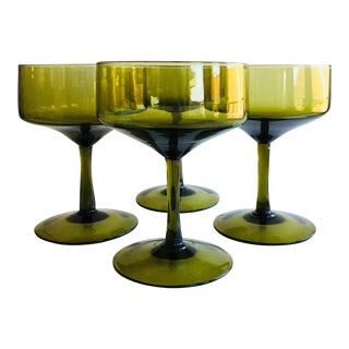 Vintage Green Champagne Coupes - Set of 4