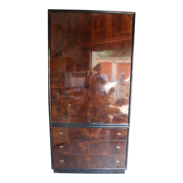 Henredon Scene Three Burled Wood Linen Press For Sale