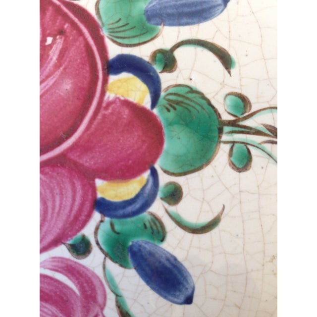 French Hand Painted Flower Faience Wall Plaque - Image 7 of 9