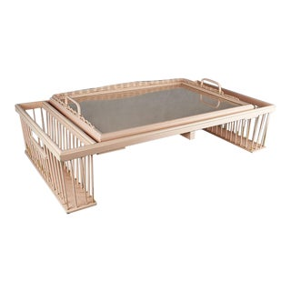 Pale Pink Hollywood Regency Adjustable Wicker Bed Breakfast Tray by Kuerne For Sale