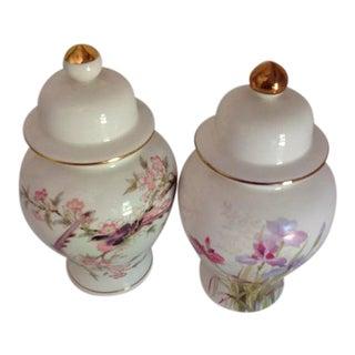 Vintage Japanese Fine China Bouquet & Birds Ginger Jars - A Pair