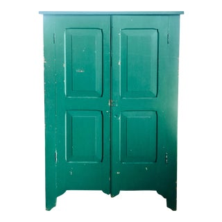Farmhouse Kelly Green Pantry Cabinet With Shelves For Sale