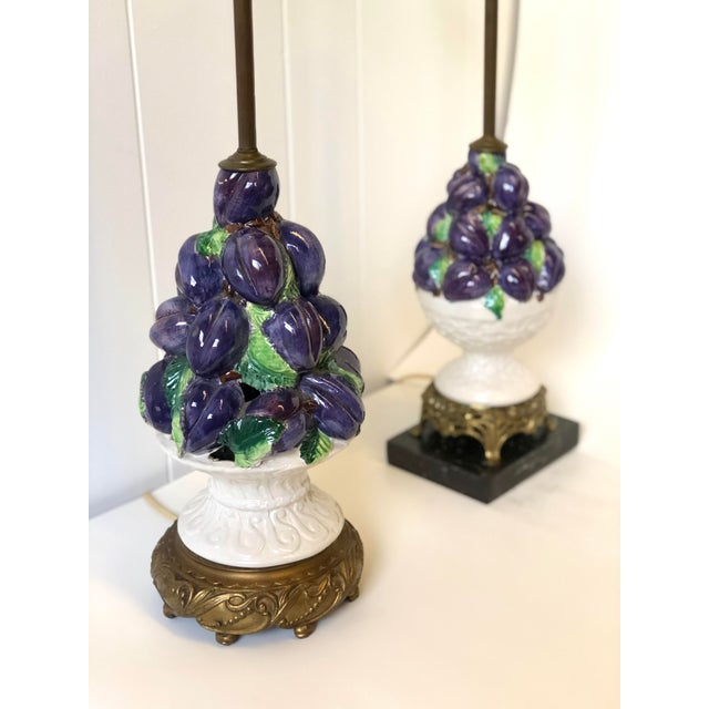 Purple Friendly Vintage Italian Ceramic Fruit Topiary Lamps - a Pair For Sale - Image 8 of 13