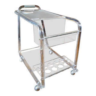Mid Century Modern Lucite & Chrome Bar Cart -1960's For Sale