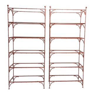 Hollywood Regency Faux Bamboo Etageres, a Pair For Sale