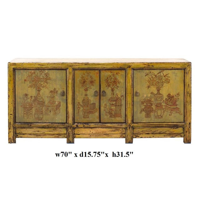 Yellow & Green Floral Sideboard or Buffet Table For Sale - Image 5 of 5