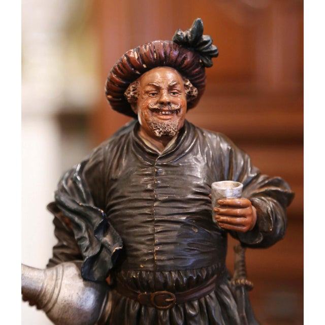 Figurative 19th Century French Polychrome Terracotta Musketeer Beer Drinker Figurine For Sale - Image 3 of 10