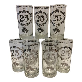 Vintage Crystal & Silver 25 Year Anniversary Glasses - Set of 10 For Sale