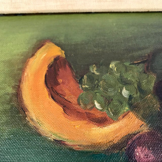 Gold Vintage Mid-Century Framed Still Life with Fruit Painting For Sale - Image 8 of 10