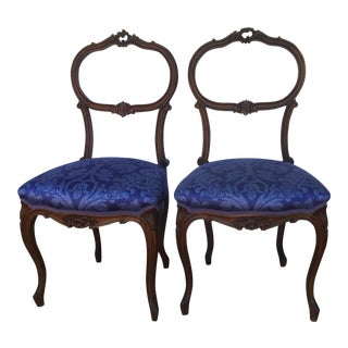 Vintage French Royal Blue Music Chairs - a Pair