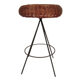 Mid-Century Modern Wicker and Metal Stool For Sale