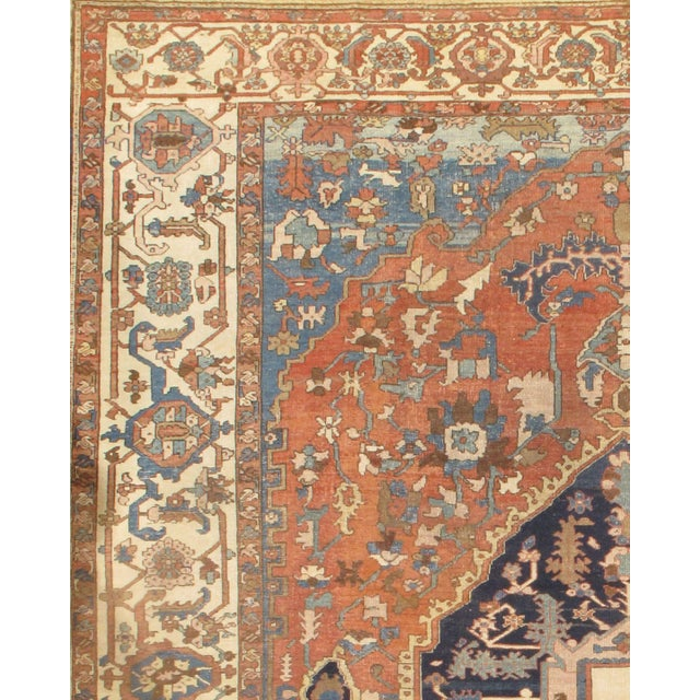 Persian Serapi antique handmade hand-knotted hand-spun wool vegetable died rug from circa 1880.