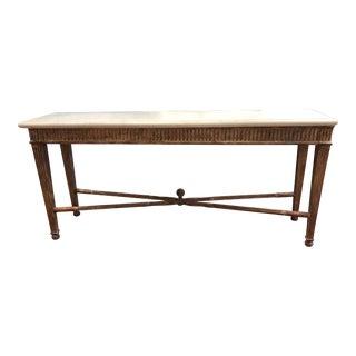 Nancy Corzine Lourdes Wood + Limestone Console Table For Sale