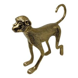 1970s Inspired Regency Figurative Brass Monkey Jungle Sculpture For Sale
