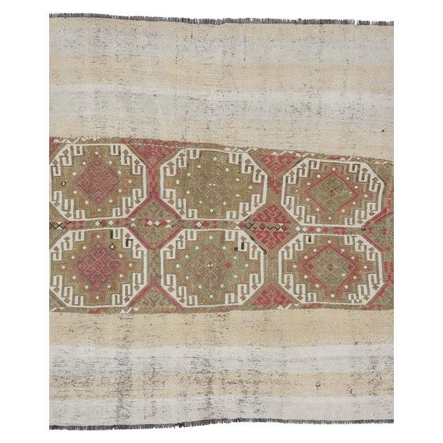 Textile Vintage Turkish Decorative Kilim Rug- 5′2″ × 5′5″ For Sale - Image 7 of 7