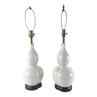 Chinese Gourd Lamps in White Porcelain With Original Wood Base