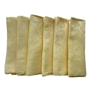 Mid 20th Century Vintage Yellow Damask Napkins - Set of 19 For Sale