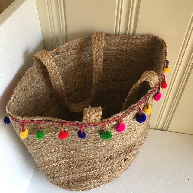 Boho Jute Large Basket Tote For Sale - Image 9 of 12